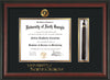 Image of University of North Georgia Diploma Frame - Rosewood - w/Embossed UNG Seal & Wordmark - Tassel Holder - Black on Gold mat