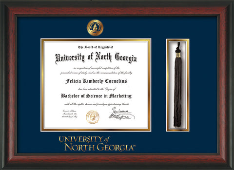 Image of University of North Georgia Diploma Frame - Rosewood - w/Embossed UNG Seal & Wordmark - Tassel Holder - Navy on Gold mat