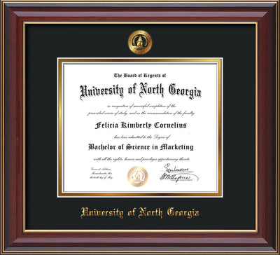 Image of University of North Georgia Diploma Frame - Cherry Lacquer - w/Embossed UNG Seal & Name - Black on Gold mat
