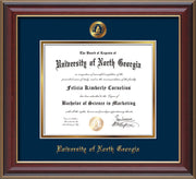 Image of University of North Georgia Diploma Frame - Cherry Lacquer - w/Embossed UNG Seal & Name - Navy on Gold mat