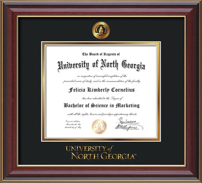 Image of University of North Georgia Diploma Frame - Cherry Lacquer - w/Embossed UNG Seal & Wordmark - Black on Gold mat