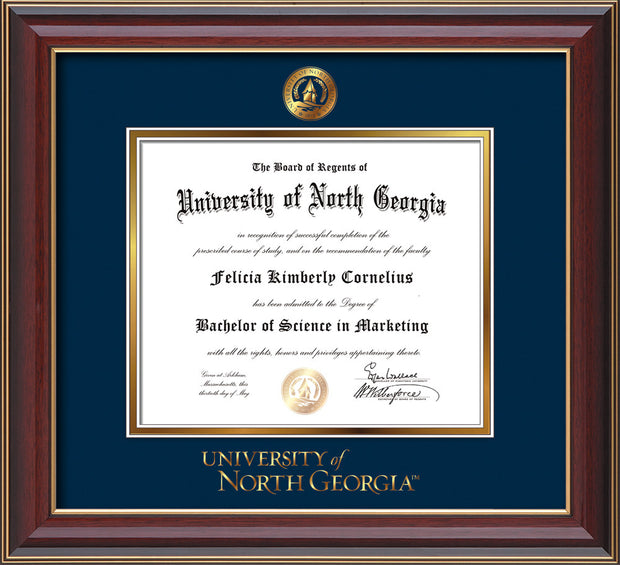 Image of University of North Georgia Diploma Frame - Cherry Lacquer - w/Embossed UNG Seal & Wordmark - Navy on Gold mat