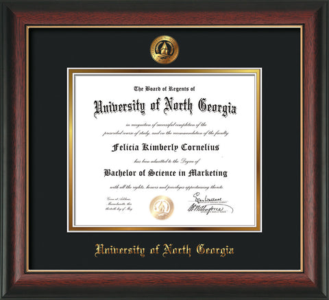 Image of University of North Georgia Diploma Frame - Rosewood w/Gold Lip - w/Embossed UNG Seal & Name - Black on Gold mat