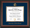 Image of University of North Georgia Diploma Frame - Rosewood w/Gold Lip - w/Embossed UNG Seal & Name - Navy on Gold mat