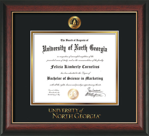 Image of University of North Georgia Diploma Frame - Rosewood w/Gold Lip - w/Embossed UNG Seal & Wordmark - Black on Gold mat