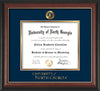 Image of University of North Georgia Diploma Frame - Rosewood w/Gold Lip - w/Embossed UNG Seal & Wordmark - Navy on Gold mat