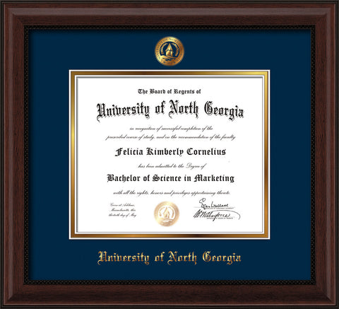 Image of University of North Georgia Diploma Frame - Mahogany Bead - w/Embossed UNG Seal & Name - Navy on Gold mat