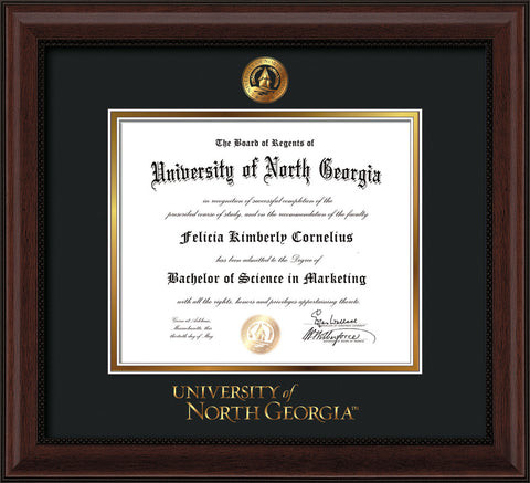 Image of University of North Georgia Diploma Frame - Mahogany Bead - w/Embossed UNG Seal & Wordmark - Black on Gold mat