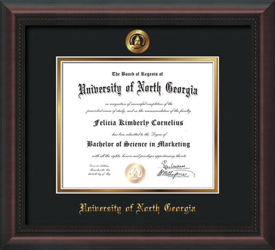 Image of University of North Georgia Diploma Frame - Mahogany Braid - w/Embossed UNG Seal & Name - Black on Gold mat