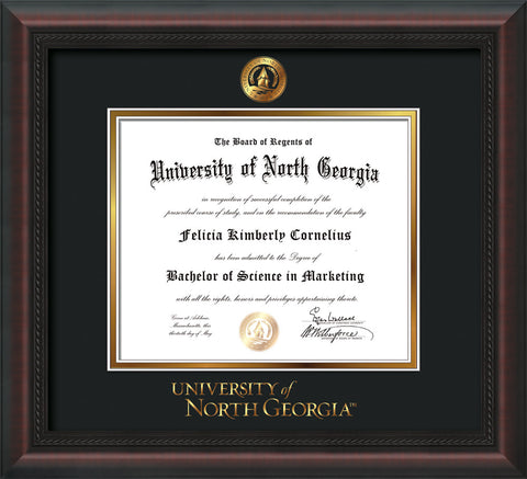 Image of University of North Georgia Diploma Frame - Mahogany Braid - w/Embossed UNG Seal & Wordmark - Black on Gold mat