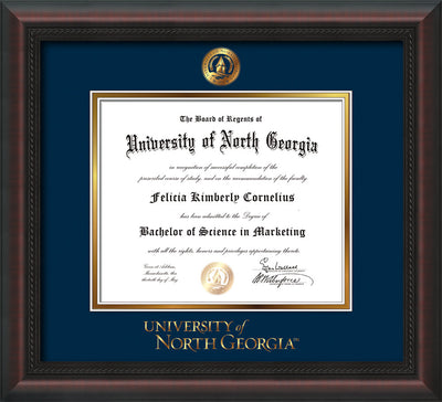 Image of University of North Georgia Diploma Frame - Mahogany Braid - w/Embossed UNG Seal & Wordmark - Navy on Gold mat