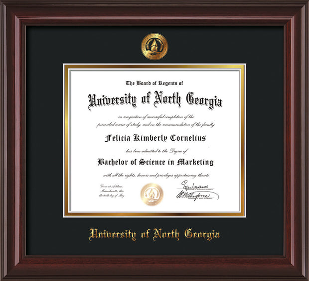 Image of University of North Georgia Diploma Frame - Mahogany Lacquer - w/Embossed UNG Seal & Name - Black on Gold mat