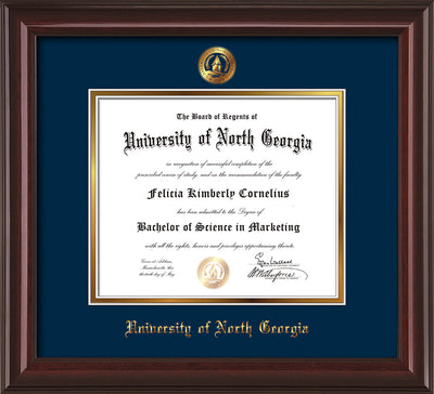 Image of University of North Georgia Diploma Frame - Mahogany Lacquer - w/Embossed UNG Seal & Name - Navy on Gold mat