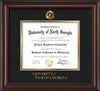 Image of University of North Georgia Diploma Frame - Mahogany Lacquer - w/Embossed UNG Seal & Wordmark - Black on Gold mat