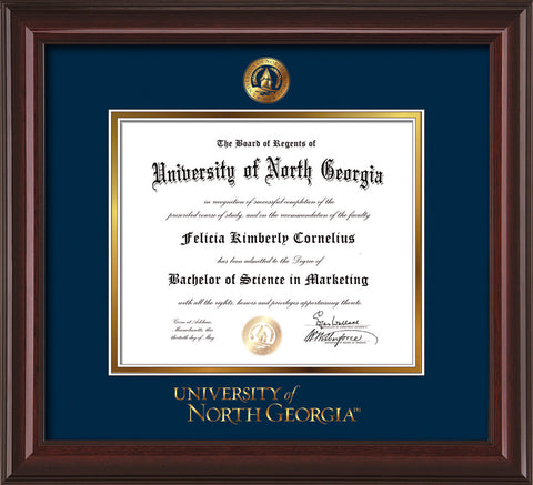 Image of University of North Georgia Diploma Frame - Mahogany Lacquer - w/Embossed UNG Seal & Wordmark - Navy on Gold mat