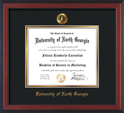 Image of University of North Georgia Diploma Frame - Cherry Reverse - w/Embossed UNG Seal & Name - Black on Gold mat