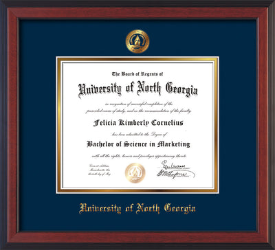 Image of University of North Georgia Diploma Frame - Cherry Reverse - w/Embossed UNG Seal & Name - Navy on Gold mat