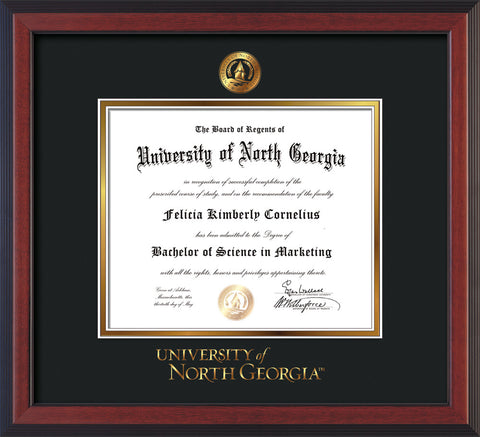 Image of University of North Georgia Diploma Frame - Cherry Reverse - w/Embossed UNG Seal & Wordmark - Black on Gold mat