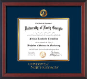 Image of University of North Georgia Diploma Frame - Cherry Reverse - w/Embossed UNG Seal & Wordmark - Navy on Gold mat