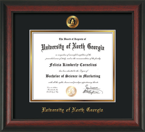 Image of University of North Georgia Diploma Frame - Rosewood - w/Embossed UNG Seal & Name - Black on Gold mat