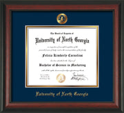Image of University of North Georgia Diploma Frame - Rosewood - w/Embossed UNG Seal & Name - Navy on Gold mat