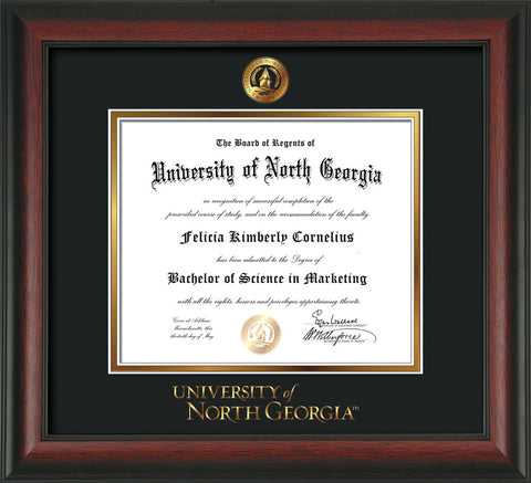 Image of University of North Georgia Diploma Frame - Rosewood - w/Embossed UNG Seal & Wordmark - Black on Gold mat