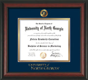 Image of University of North Georgia Diploma Frame - Rosewood - w/Embossed UNG Seal & Wordmark - Navy on Gold mat