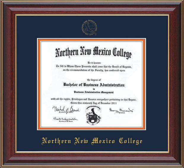 Image of Northern New Mexico College Diploma Frame - Cherry Lacquer - w/Embossed NNMC Seal & Name - Navy on Orange mat
