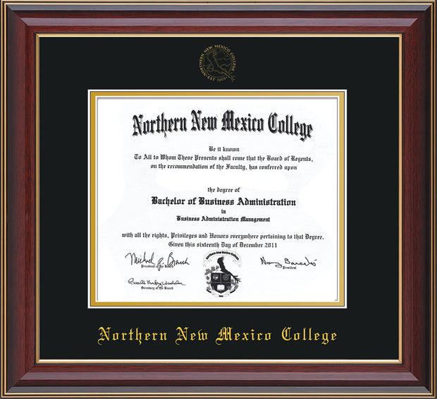 Image of Northern New Mexico College Diploma Frame - Cherry Lacquer - w/Embossed NNMC Seal & Name - Black on Gold mat