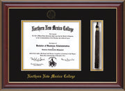 Image of Northern New Mexico College Diploma Frame - Cherry Lacquer - w/Embossed NNMC Seal & Name - Tassel Holder - Black on Gold mat