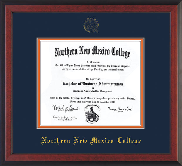 Image of Northern New Mexico College Diploma Frame - Cherry Reverse - w/Embossed NNMC Seal & Name - Navy on Orange mat