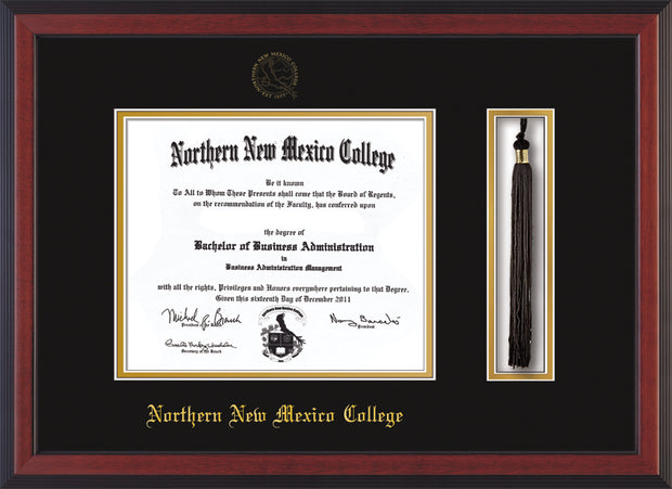 Image of Northern New Mexico College Diploma Frame - Cherry Reverse - w/Embossed NNMC Seal & Name - Tassel Holder - Black on Gold mat