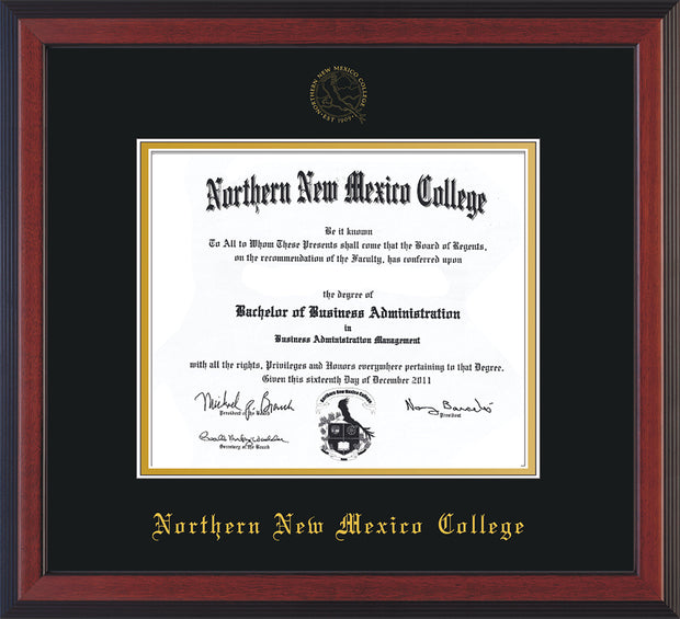 Image of Northern New Mexico College Diploma Frame - Cherry Reverse - w/Embossed NNMC Seal & Name - Black on Gold mat