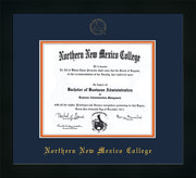 Image of Northern New Mexico College Diploma Frame - Flat Matte Black - w/Embossed NNMC Seal & Name - Navy on Orange mat