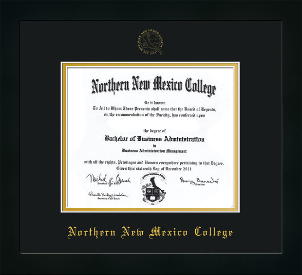 Image of Northern New Mexico College Diploma Frame - Flat Matte Black - w/Embossed NNMC Seal & Name - Black on Gold mat