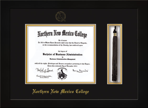 Image of Northern New Mexico College Diploma Frame - Flat Matte Black - w/Embossed NNMC Seal & Name - Tassel Holder - Black on Gold mat