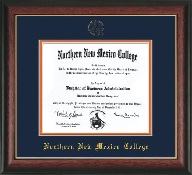 Image of Northern New Mexico College Diploma Frame - Rosewood w/Gold Lip - w/Embossed NNMC Seal & Name - Navy on Orange mat