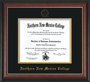 Image of Northern New Mexico College Diploma Frame - Rosewood w/Gold Lip - w/Embossed NNMC Seal & Name - Black on Gold mat
