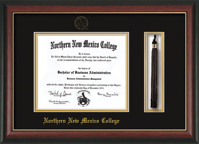 Image of Northern New Mexico College Diploma Frame - Rosewood with Gold Lip - w/Embossed NNMC Seal & Name - Tassel Holder - Black on Gold mat