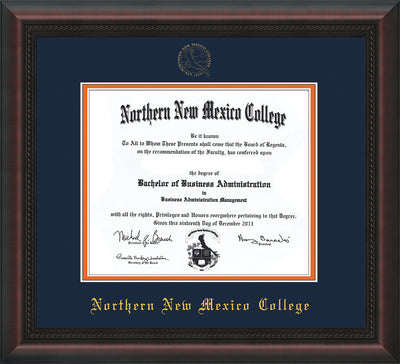 Image of Northern New Mexico College Diploma Frame - Mahogany Braid - w/Embossed NNMC Seal & Name - Navy on Orange mat