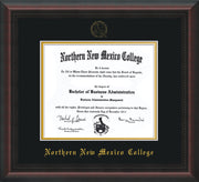 Image of Northern New Mexico College Diploma Frame - Mahogany Braid - w/Embossed NNMC Seal & Name - Black on Gold mat