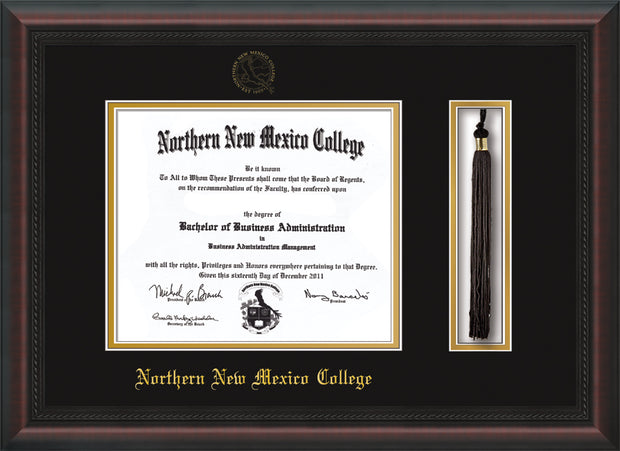 Northern New Mexico College Diploma Frame - Mahogany Braid - w/Embossed NNMC Seal & Name - Tassel Holder - Black on Gold mat