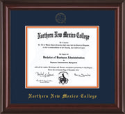 Image of Northern New Mexico College Diploma Frame - Mahogany Lacquer - w/Embossed NNMC Seal & Name - Navy on Orange mat