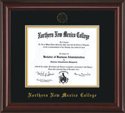 Image of Northern New Mexico College Diploma Frame - Mahogany Lacquer - w/Embossed NNMC Seal & Name - Black on Gold mat