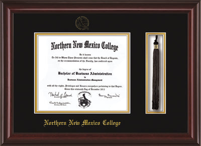 Image of Northern New Mexico College Diploma Frame - Mahogany Lacquer - w/Embossed NNMC Seal & Name - Tassel Holder - Black on Gold mat