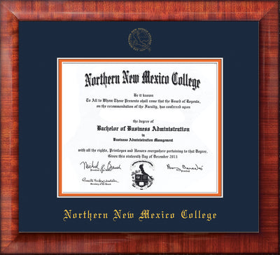 Image of Northern New Mexico College Diploma Frame - Mezzo Gloss - w/Embossed NNMC Seal & Name - Navy on Orange mat