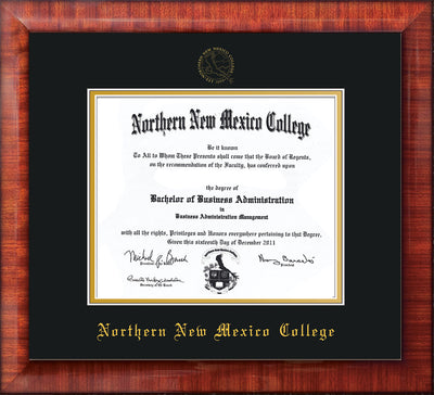 Image of Northern New Mexico College Diploma Frame - Mezzo Gloss - w/Embossed NNMC Seal & Name - Black on Gold mat