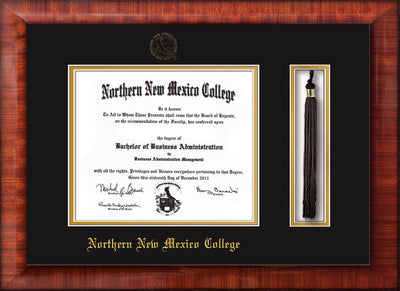 Image of Northern New Mexico College Diploma Frame - Mezzo Gloss - w/Embossed NNMC Seal & Name - Tassel Holder - Black on Gold mat