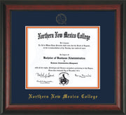 Image of Northern New Mexico College Diploma Frame - Rosewood - w/Embossed NNMC Seal & Name - Navy on Orange mat