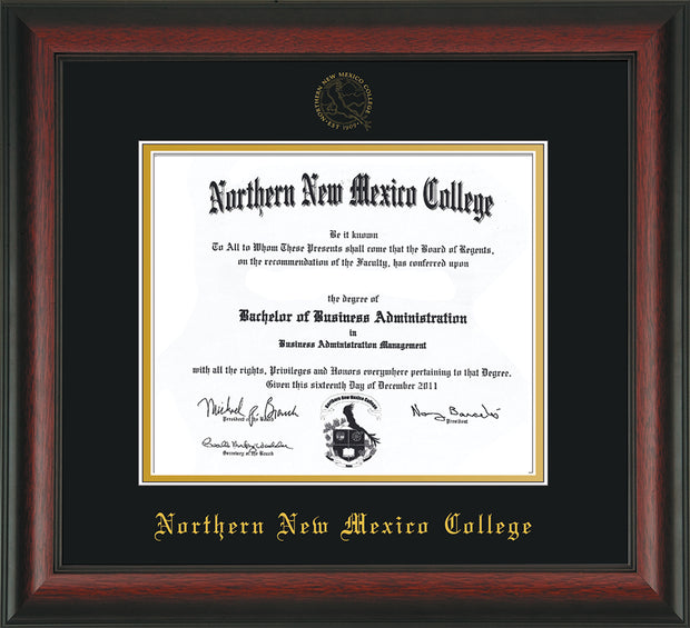 Image of Northern New Mexico College Diploma Frame - Rosewood - w/Embossed NNMC Seal & Name - Black on Gold mat